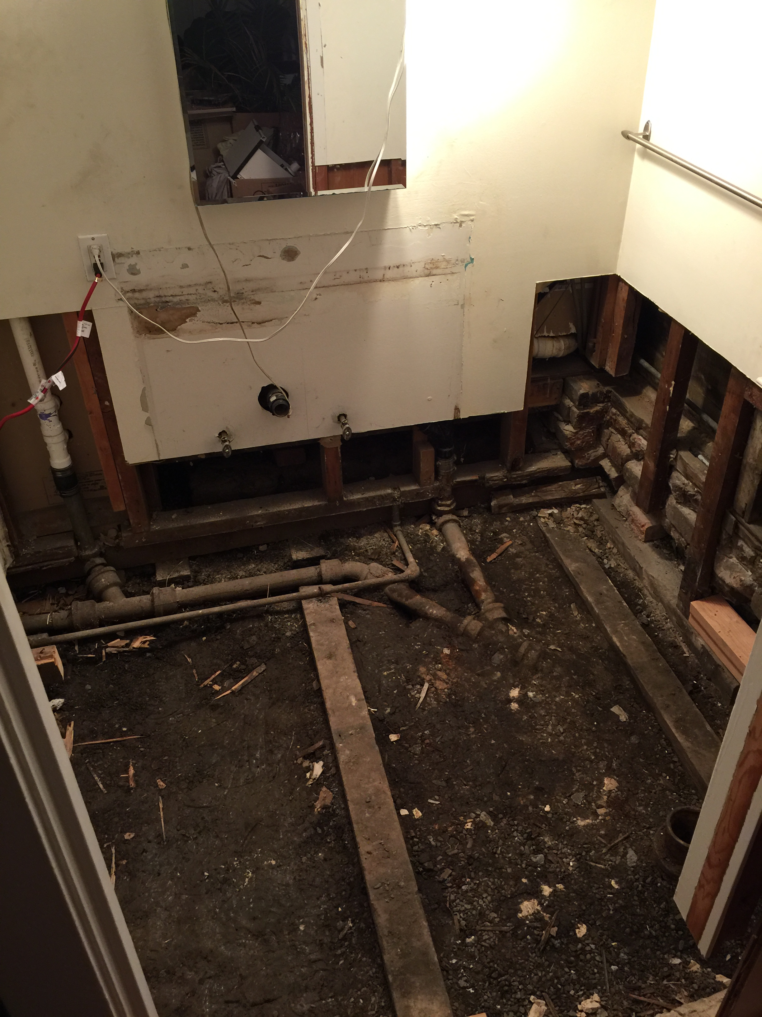 After Removing The Entire Floor, I Realized That A Lot Of The Studs And  Drywall Were Rotten As Well. The Photo Below Is Essentially Everything I  Tore Out ...